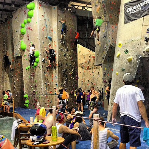 Inside of Aiguille Rock Climbing Center